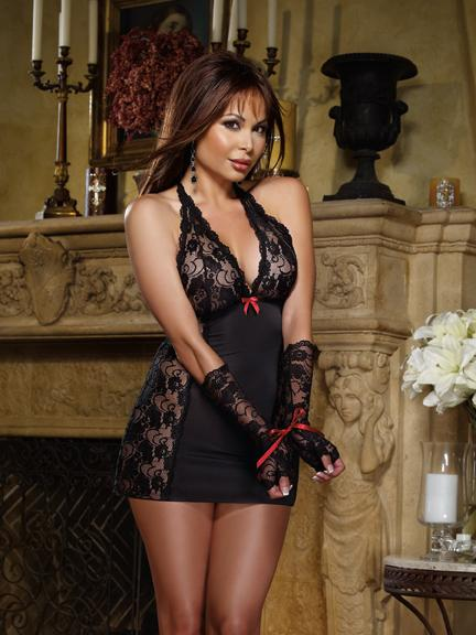 Chemise Thong Fingerless Glove Black O/S Queen