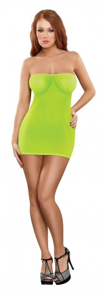 Club Seamless Neon Tube Dress & G-String Lime O/S